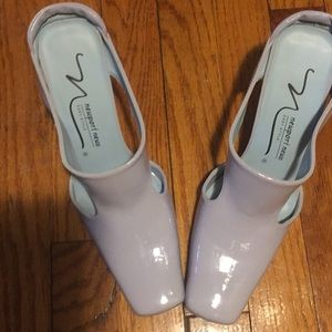 Nice slide on shoes soft blue patent leather